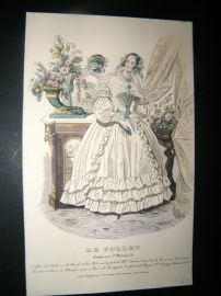 Le Follet C1840's Hand Coloured Fashion Print 839